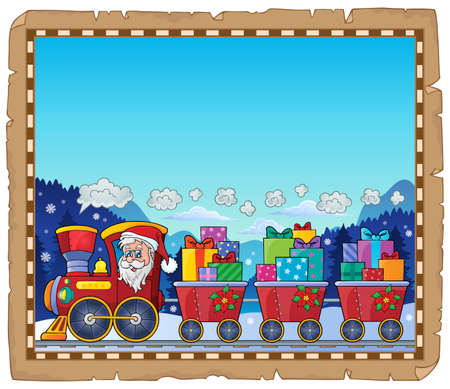 Parchment with Christmas train theme 3 - eps10 vector illustration. Illustration