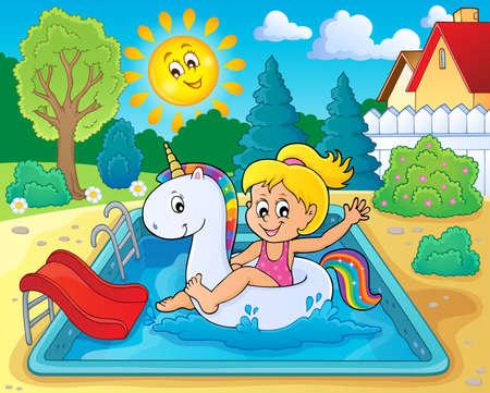Girl floating on inflatable unicorn 3 - eps10 vector illustration. Illustration