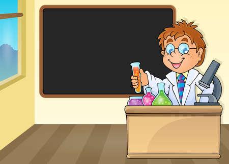 Chemistry teacher by blackboard - eps10 vector illustration.