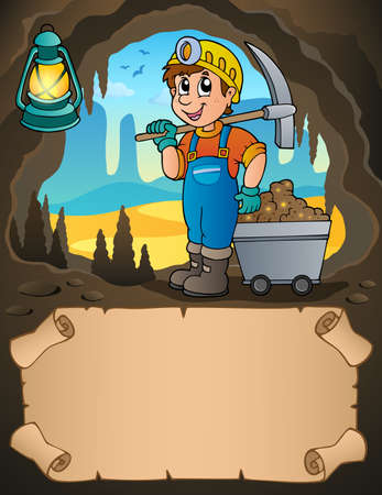 Small parchment and miner with cart - eps10 vector illustration.