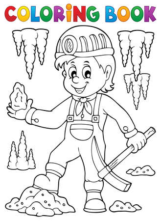 Coloring book miner theme image - eps10 vector illustration.