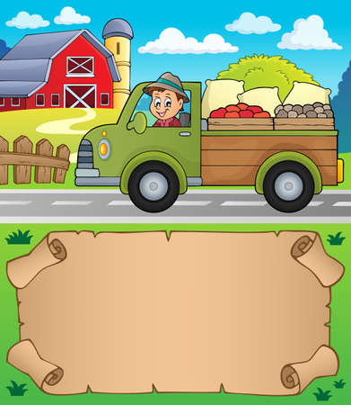 Small parchment and farm truck - eps10 vector illustration.