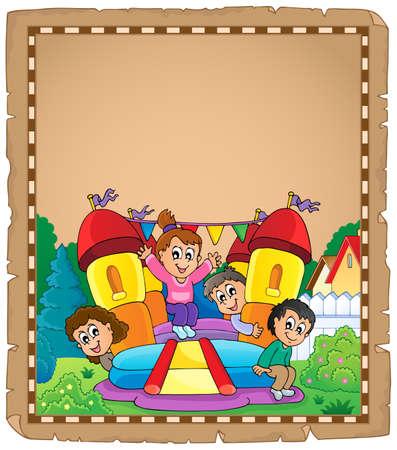 Kids on inflatable castle parchment