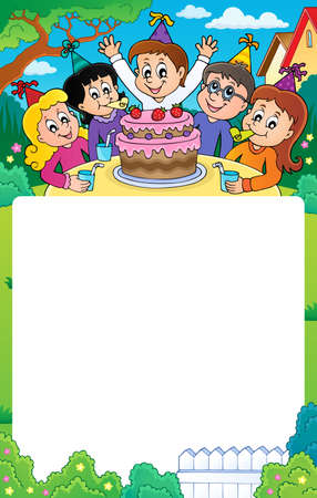 Kids party topic frame 3 - eps10 vector illustration.