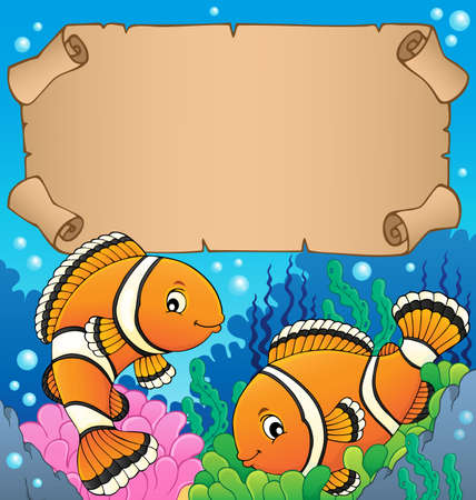 Small parchment with clownfish theme - eps10 vector illustration. Vectores