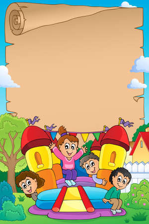 Kids on inflatable castle parchment 1 - eps10 vector illustration.