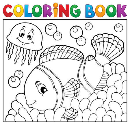 Coloring book clownfish topic 2 - eps10 vector illustration. Illustration