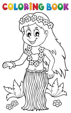 Coloring book Hawaiian theme dancer 1 - eps10 vector illustration.