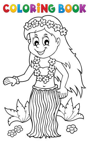 Coloring book Hawaiian theme dancer 1 - eps10 vector illustration.