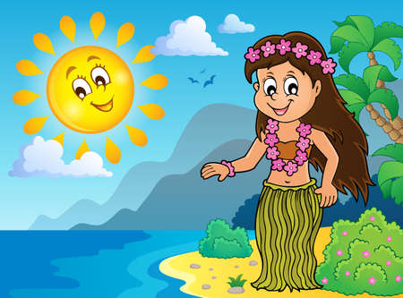 Hawaiian theme dancer image Ilustração
