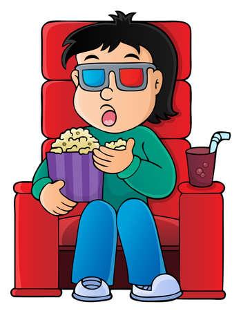 Boy in cinema theme image 1 - eps10 vector illustration.