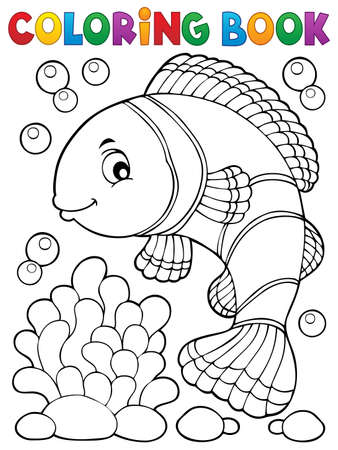 Coloring book clownfish topic 向量圖像