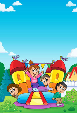 Kids on inflatable castle theme 1 - eps10 vector illustration. Иллюстрация