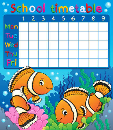 School timetable with clownfish theme - eps10 vector illustration. Illustration