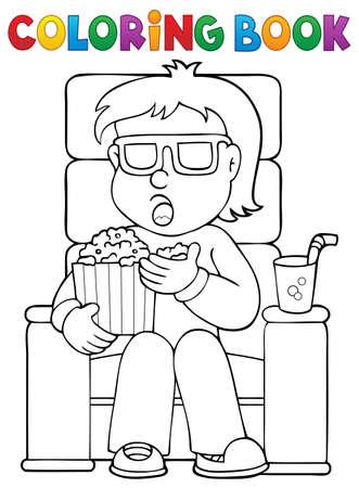 Coloring book boy in cinema theme 1 - eps10 vector illustration. Illustration