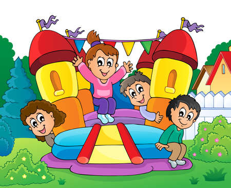 Kids on inflatable castle theme