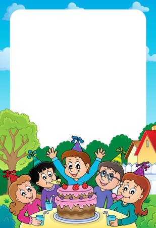 Kids party topic frame 2 - eps10 vector illustration. Illustration