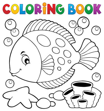 Coloring book with fish theme 7 - eps10 vector illustration.
