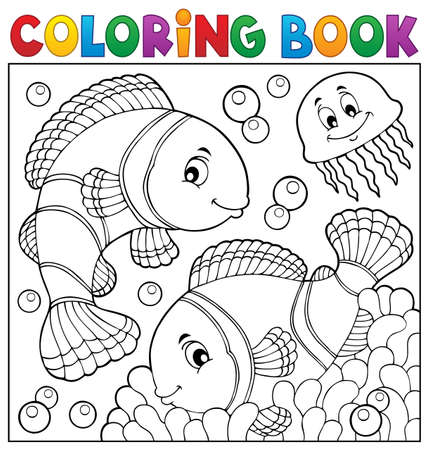 Coloring book clownfish topic Vectores
