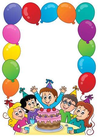 Kids party topic frame 1 - eps10 vector illustration.