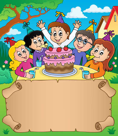 Small parchment with kids party topic 2 - eps10 vector illustration.