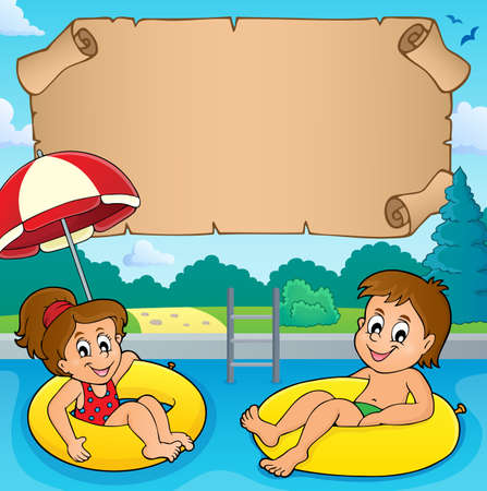 Small parchment and kids in pool Illustration