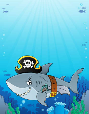 Pirate shark topic vector illustration. Ilustrace