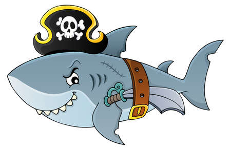 Pirate shark topic vector illustration. Çizim