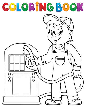 Coloring book gas station worker theme
