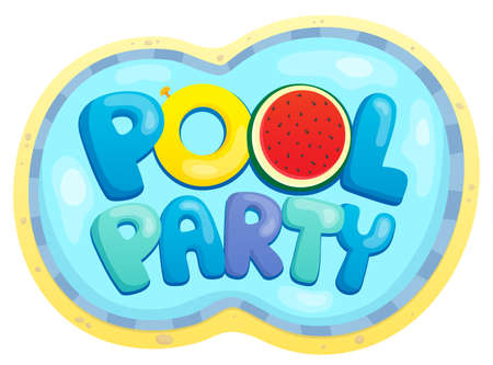 Pool party sign theme Illustration