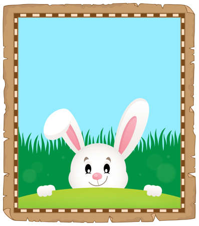 Parchment with lurking Easter bunny 3 - eps10 vector illustration.