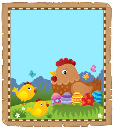 Parchment with Easter hen and chickens - eps10 vector illustration. 版權商用圖片 - 102846219
