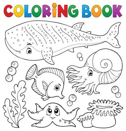 Coloring book ocean life theme 1 - eps10 vector illustration.