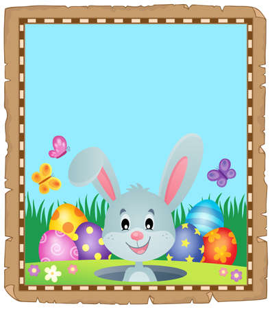 Parchment with lurking Easter bunny Illustration