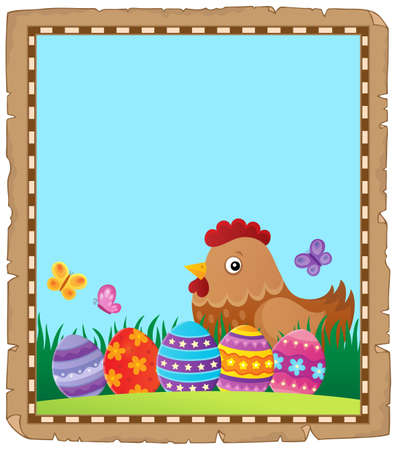 Parchment with Easter hen and eggs - eps10 vector illustration.