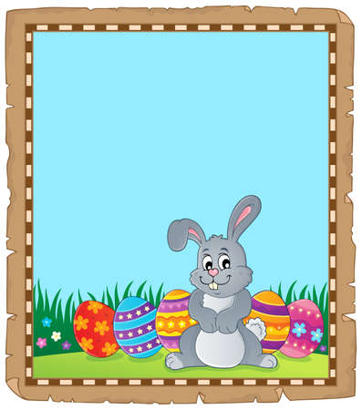 Parchment with Easter bunny topic 4 - eps10 vector illustration.