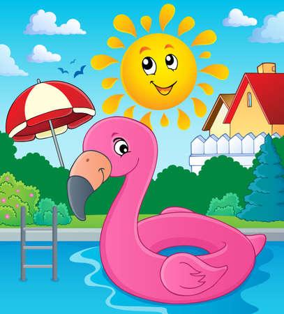 Flamingo float theme image Illustration
