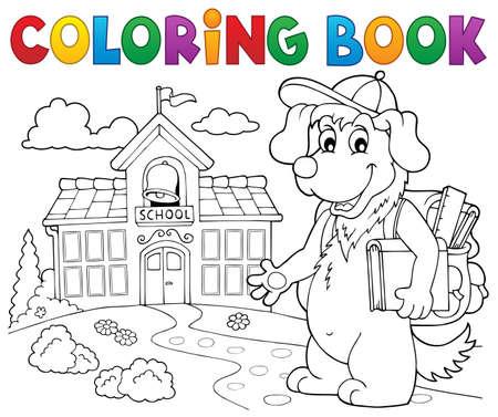 Coloring book school dog theme Illustration