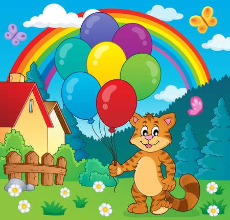 Happy party cat theme image