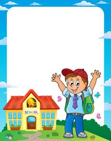 Happy pupil boy theme frame