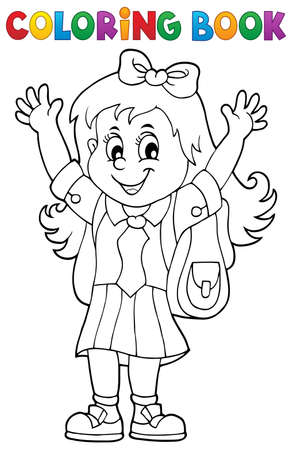 Coloring book happy pupil girl theme