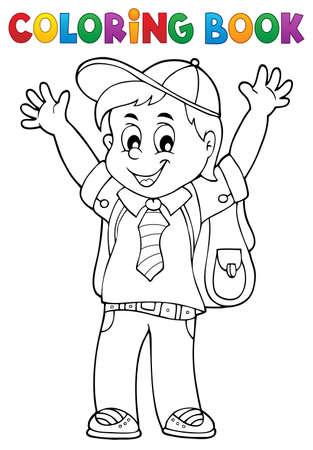 Coloring book happy pupil boy theme Illustration