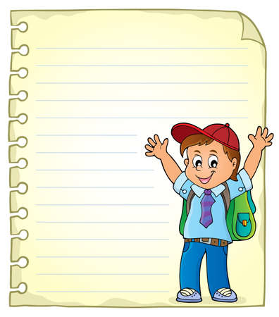 Notepad page with happy pupil boy Illustration