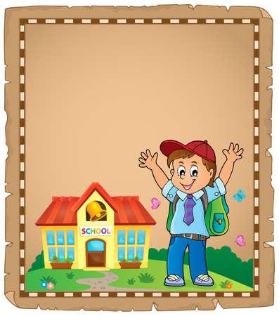 Happy pupil boy theme parchment