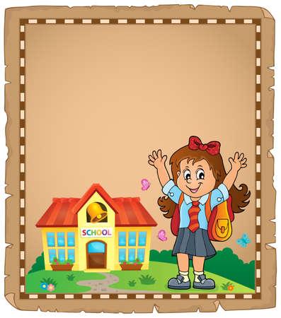 Happy pupil girl theme parchment Illustration