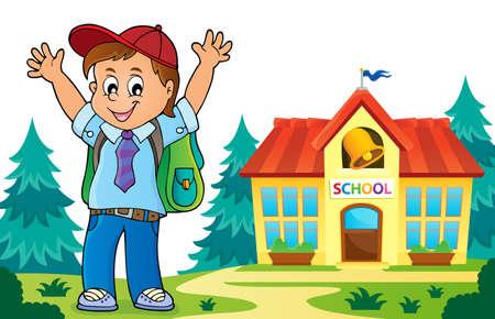 Happy pupil boy theme image