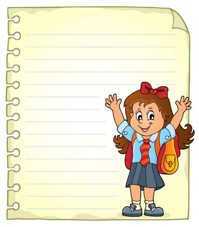 Notepad page with happy pupil girl Illustration