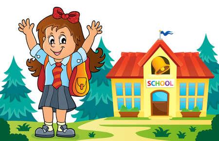 Happy pupil girl theme image Illustration