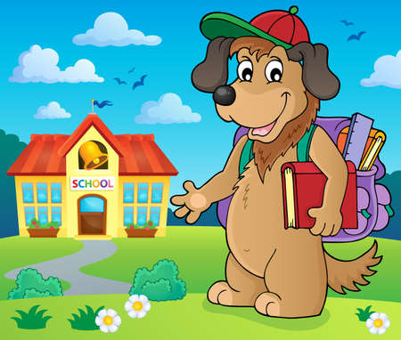 School dog theme image 2 - eps10 vector illustration. Illustration