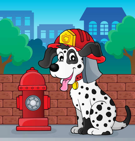 Firefighter dog theme 2 - eps10 vector illustration.